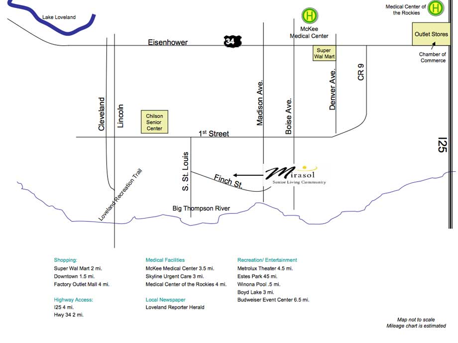 Loveland, CO | Local Map | Mirasol Senior Community